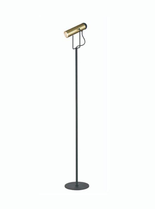 Contemporary 1 Light Adjustable Floor Reading Lamp Black / Satin Brass