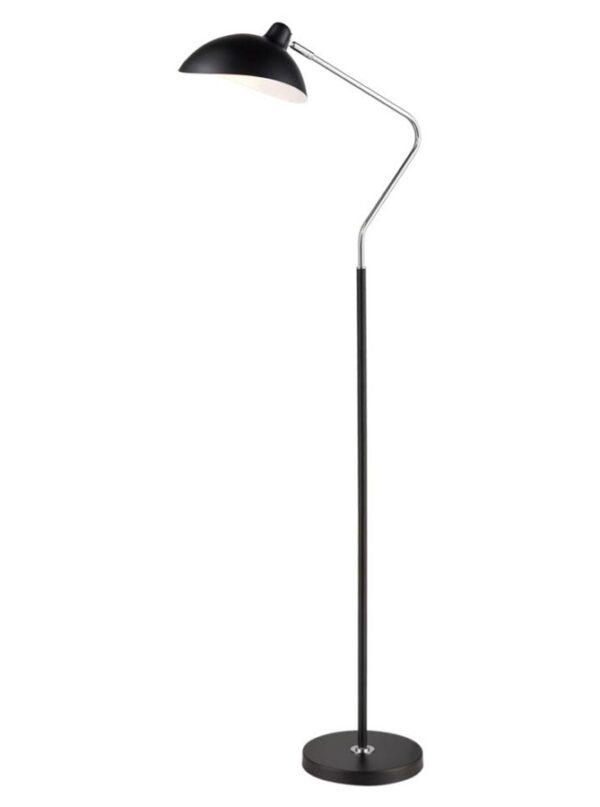 Modern 1 Light Floor Lamp Standard Matt Black Polished Chrome