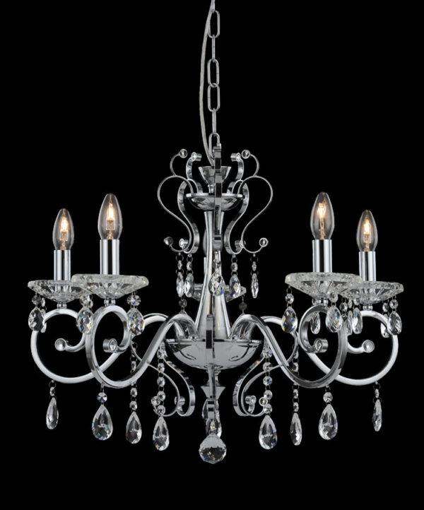 Franklite FL2372/5 Damask 5 light crystal chandelier in polished chrome