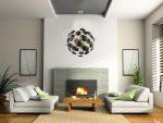 Contemporary 12 Light Ceiling Pendant Globe Matt Gold Black Discs