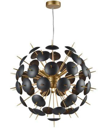 Franklite Dandy 6 Light Ceiling Pendant Globe Matt Black Gold