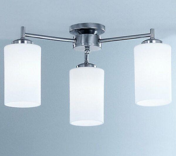 Franklite Decima 3 Arm Flush Ceiling Light Satin Nickel Opal Glass