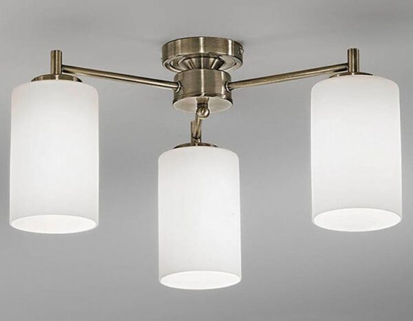 Franklite FL2253/3 Decima 3 arm flush mount ceiling light in bronze with opal glass shades