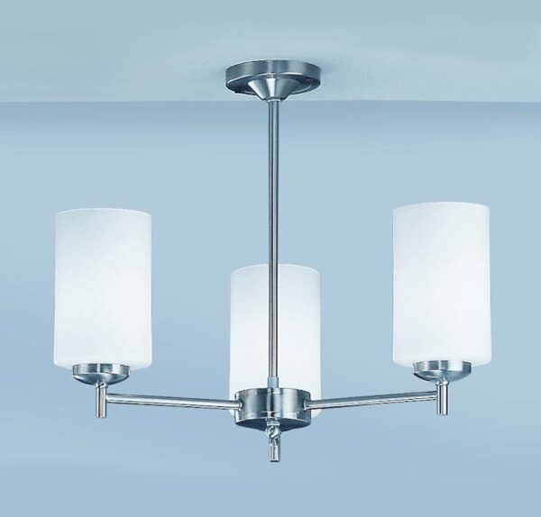 Franklite CO9303/727 Decima 3 arm semi flush ceiling light in satin nickel with opal glass shades
