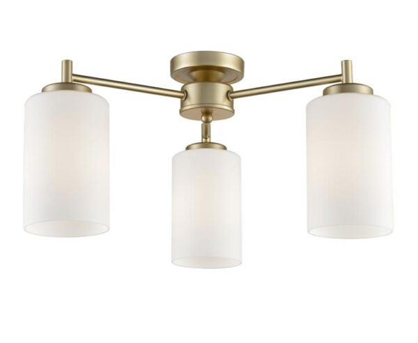 Franklite Decima 3 Arm Flush Ceiling Light Matt Gold Opal Glass