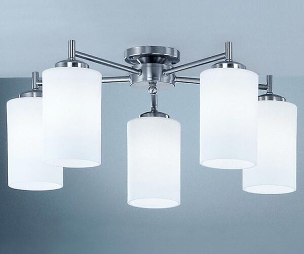 Franklite CO9315/727 Decima 5 arm flush mount ceiling light in satin nickel with opal glass shades