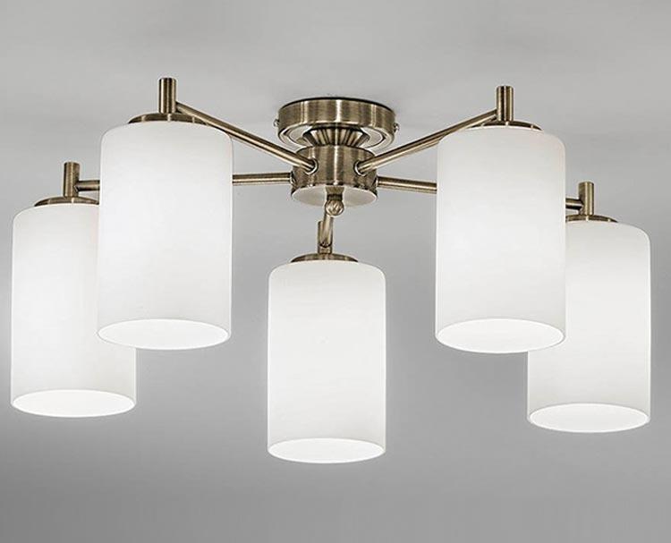 Traditional Bathroom Barclay Flush Fitting Glass Ceiling: Franklite Decima 5 Arm Flush Mount Ceiling Light Bronze