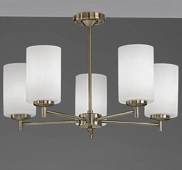 Franklite FL2272/5 Decima 5 arm semi flush ceiling light in bronze with opal glass shades