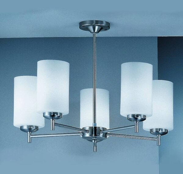 Franklite CO9305/727 Decima 5 arm semi flush ceiling light in satin nickel with opal glass shades