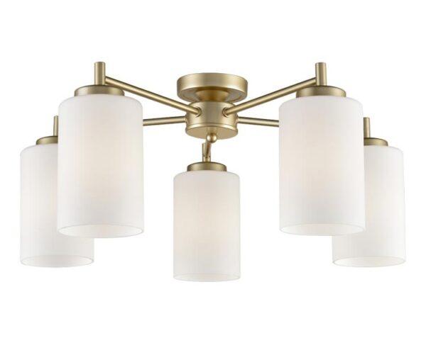 Traditional 5 Arm Flush Mount Ceiling Light Matt Gold Opal Glass Shades