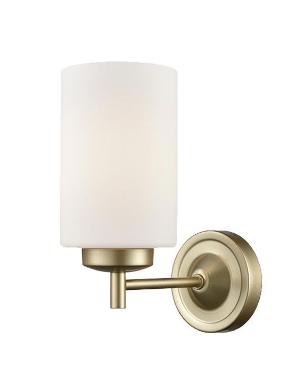 Franklite FL2387/1 Decima single light wall light in matt gold with opal glass shade
