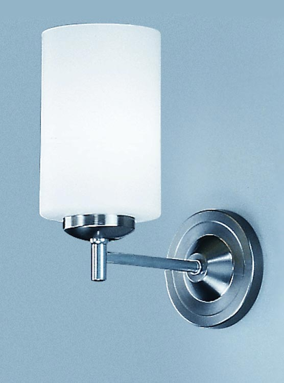Franklite CO9301/727 Decima single wall light in satin nickel with opal white glass shade
