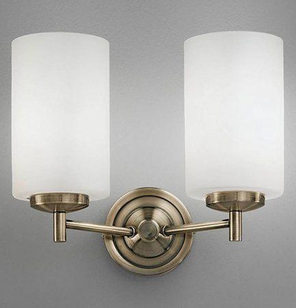 Franklite Decima 2 Light Twin Wall Light Bronze Opal White Glass