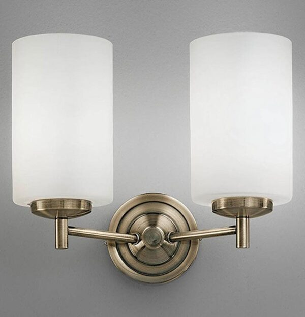 Franklite FL2253/2 Decima 2 light twin wall light in bronze with opal white glass shades