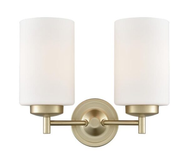 Franklite FL2387/2 Decima 2 light twin wall light in matt gold with opal glass shades facing up