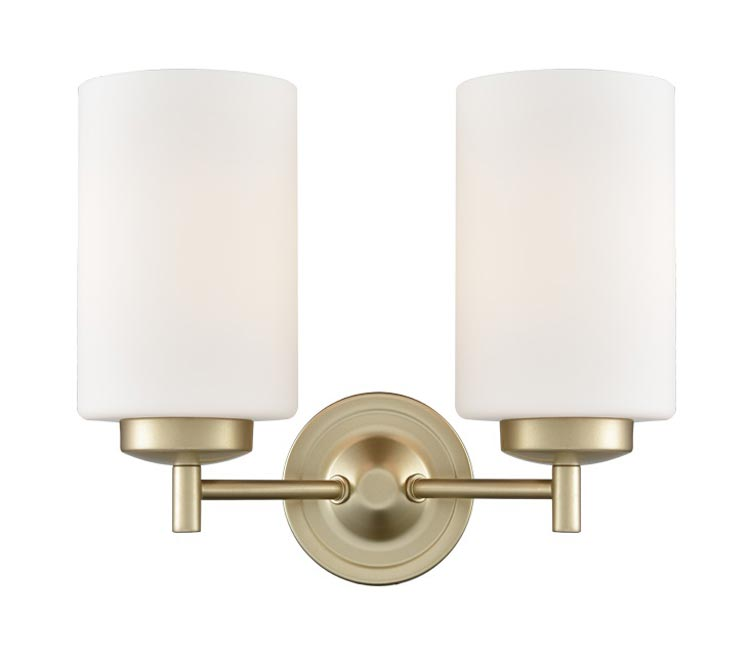 Franklite FL2387/2 Decima 2 light twin wall light in matt gold with opal glass shades facing up