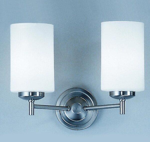Franklite Decima 2 Light Twin Wall Light Satin Nickel Opal White Glass