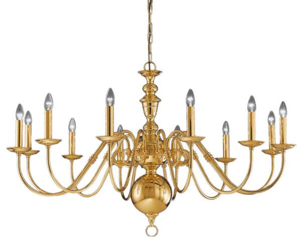 Franklite CO41712PB Delft 12 light large chandelier in polished solid brass