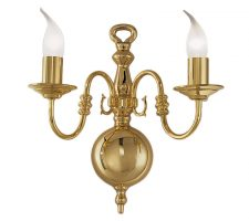 ff729704f332 Franklite PE7922 Delft large 2 light twin wall light in polished solid brass
