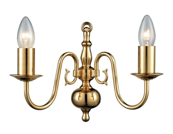 Franklite PE7912 Delft traditional twin wall light in polished solid brass