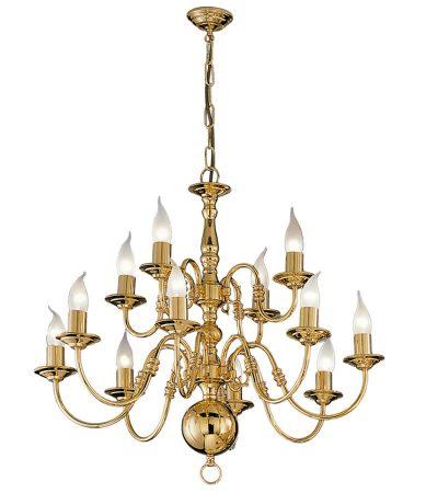 Franklite Delft 12 Light 2-Tier Chandelier Polished Solid Brass