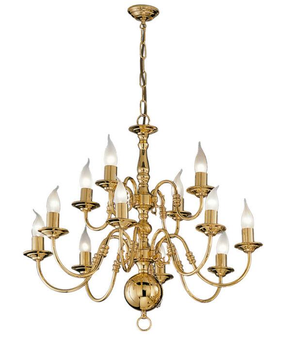 Franklite PE79112 Delft 12 light 2-tier chandelier in polished solid brass