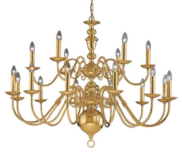 Franklite CO41718PB Delft 18 light large chandelier in polished solid brass