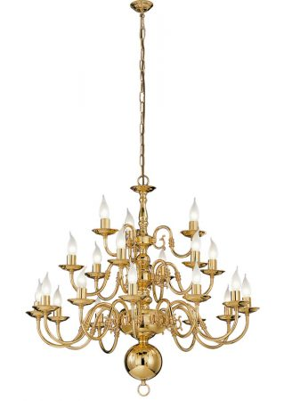 Franklite Delft 21 Light 3-Tier Large Chandelier Polished Solid Brass