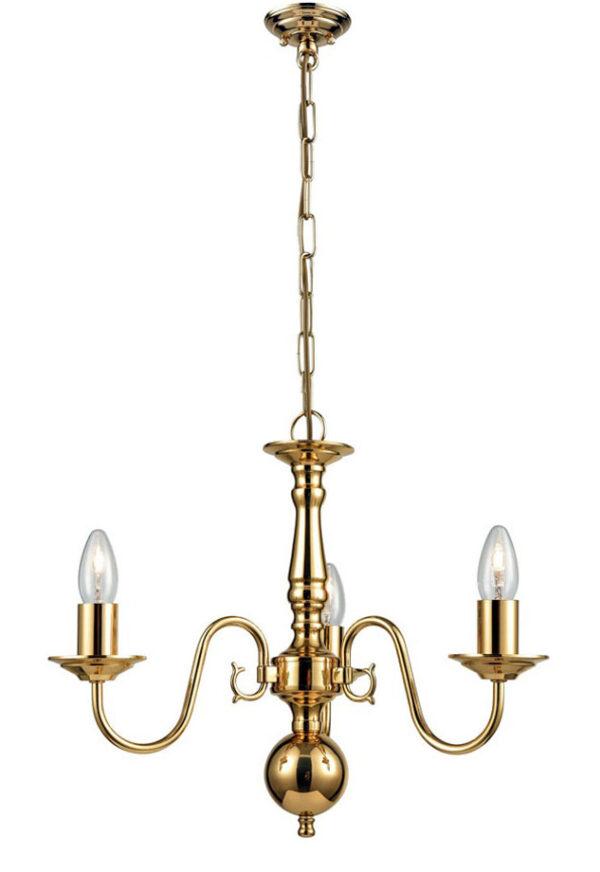 Franklite PE7913 Delft 3 light traditional chandelier in polished solid brass