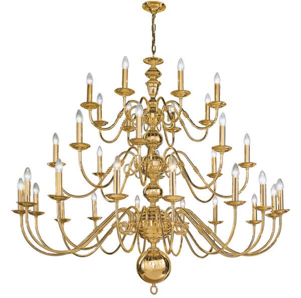 Franklite Delft 32 Light Huge Chandelier Polished Solid Brass