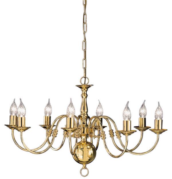 Franklite PE7918 Delft 8 light traditional chandelier in polished solid brass