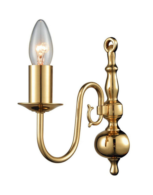 Flemish Style Classic 1 Lamp Single Wall Light Polished Solid Brass