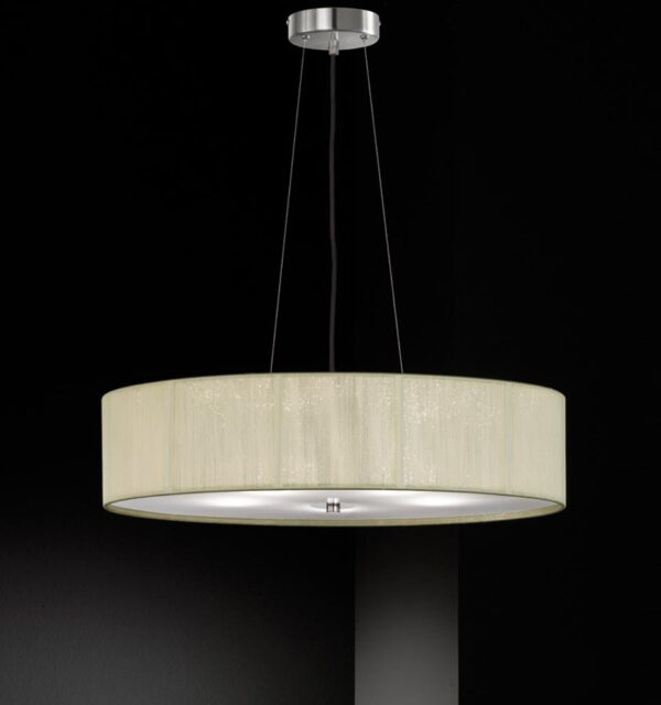 Modern 5 Light Ceiling Pendant Satin Nickel Cream String Thread