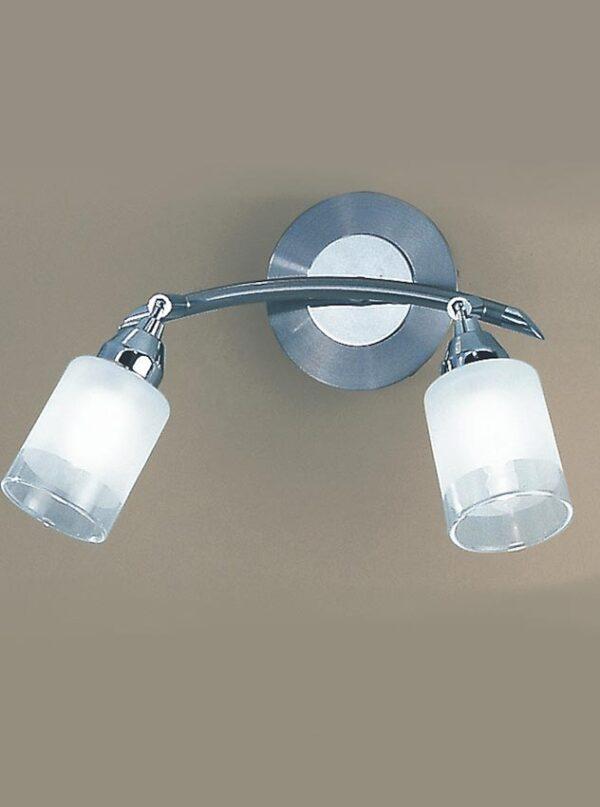 Stylish Satin Nickel Finish Switched Twin Wall Light Acid Glass Shades