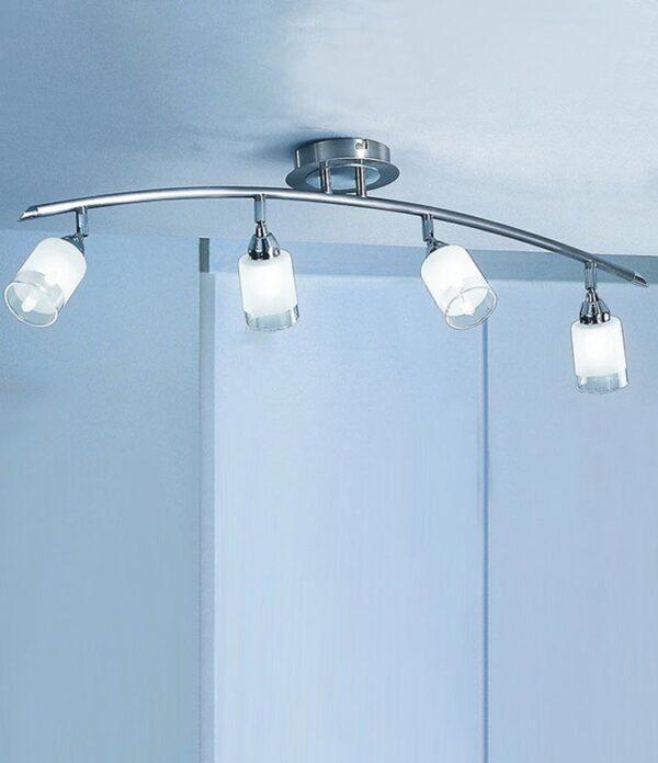Stylish Satin Nickel 4 Light Ceiling Spot Light Bar Acid Glass Shades