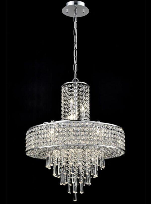Franklite FL2382/12 Duchess 12 light ceiling pendant polished chrome crystal glass