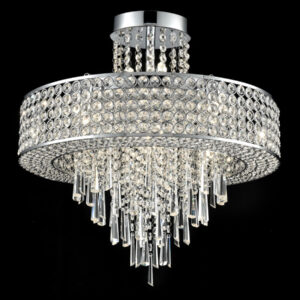 Franklite FL2381/12 Duchess 12 light semi flush ceiling light polished chrome crystal