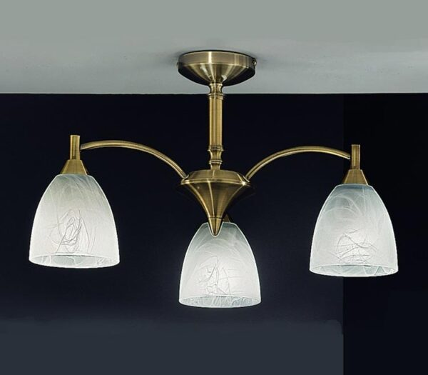 Franklite FL2105/3 Emmy 3 arm semi flush ceiling light with alabaster effect glass shades