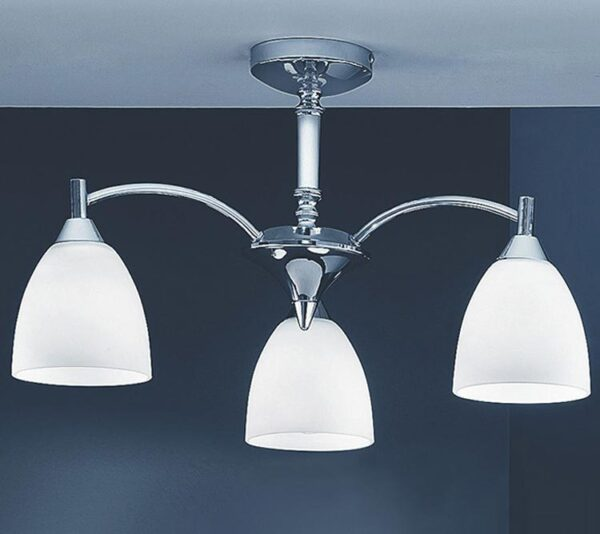 Franklite FL2087/3 Emmy 3 arm semi flush ceiling light in polished chrome with alabaster glass shades