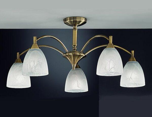 Franklite FL2105/5 Emmy 5 arm semi flush ceiling light with alabaster effect glass shades