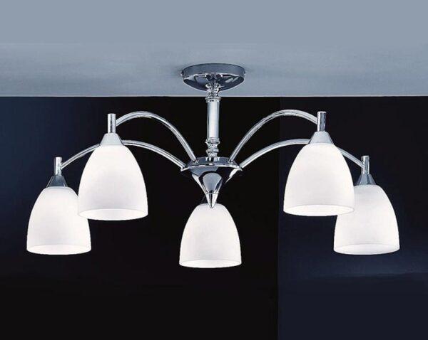 Franklite FL2087/5 Emmy 5 arm semi flush ceiling light in polished chrome with alabaster glass shades