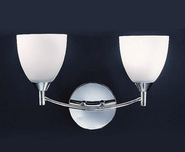 Franklite FL2087/3 Emmy 2 light twin wall light in polished chrome with alabaster glass shades