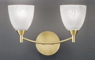 Franklite Emmy Satin Brass Twin Alabaster Glass Wall Light