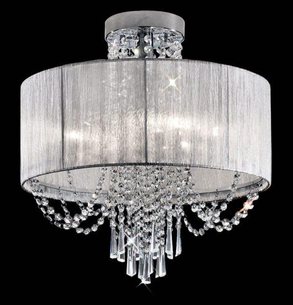 Polished Chrome & Crystal 6 Light Quality Flush Ceiling Light Silver Shade
