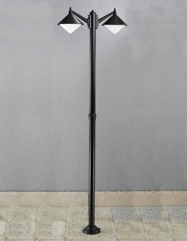 Contemporary 2 Head Cast Aluminium Garden Lamp Post Matt Black IP43