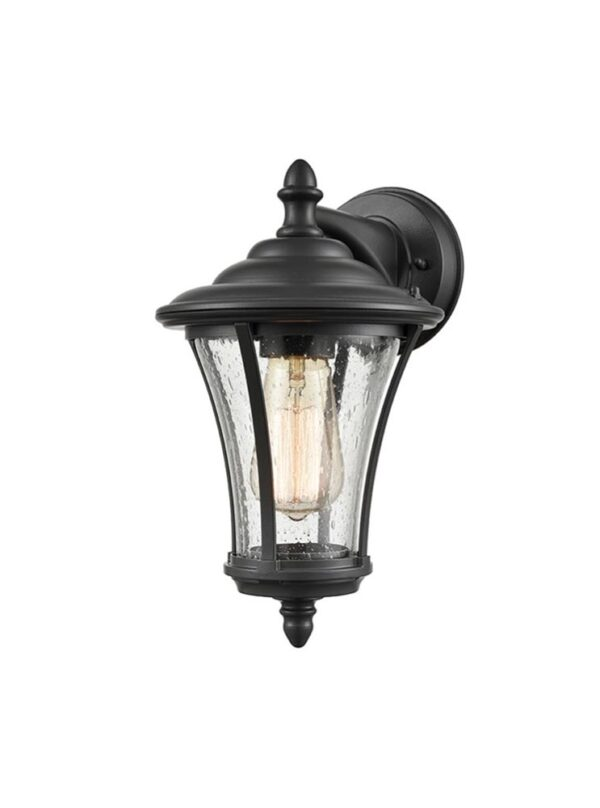 Classic 1 Light Tapered Outdoor Wall Down Lantern Charcoal Raindrop Glass