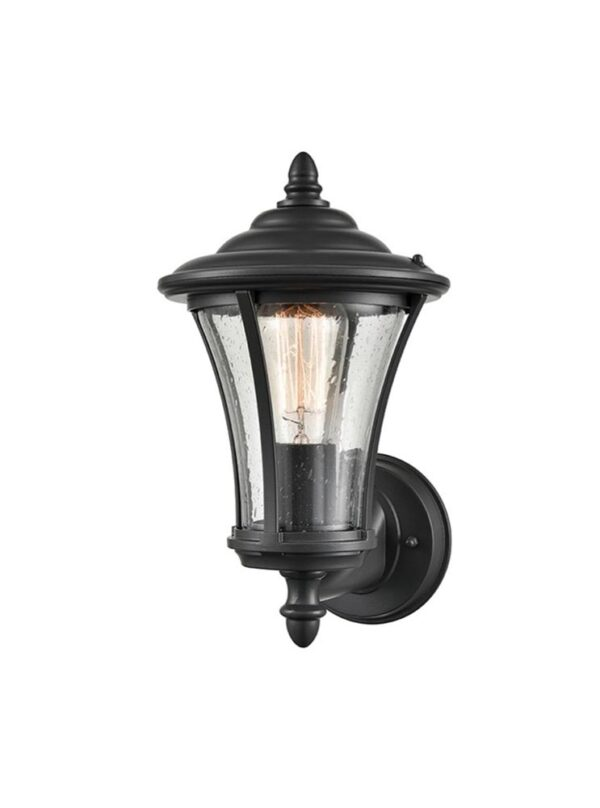 Classic 1 Light Tapered Outdoor Wall Up Lantern Charcoal Raindrop Glass