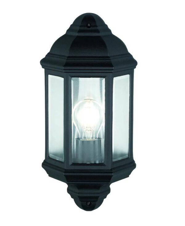 Traditional 1 Light Outdoor Wall Half Lantern Matt Black IP44