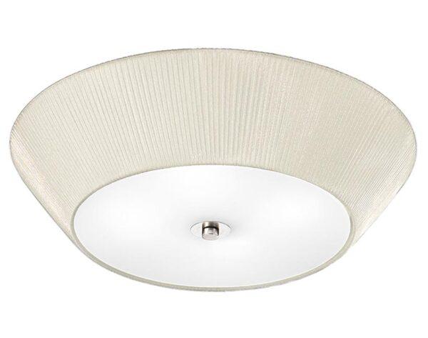 Classic 4 Lamp Flush Low Ceiling Light Cream Pleat Fabric Satin Glass