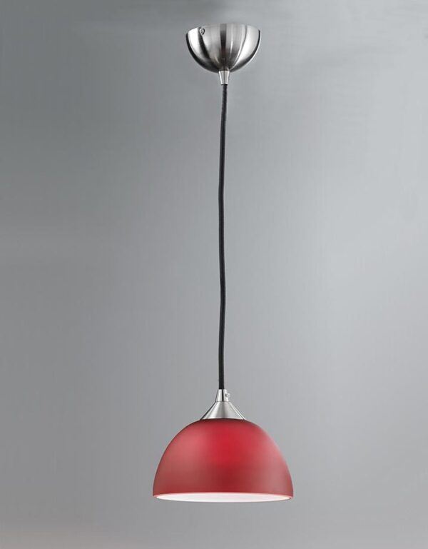 Contemporary 1 Light Small Ceiling Pendant Satin Nickel Red Glass